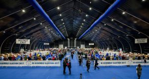 General view of the main Belfast count centre at the Titanic Exhibition Centre. Photograph: Liam McBurney/PA Wire