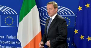 Taoiseach Enda Kenny  in Brussels: says keeping the Border open will be a political decision and not a technical one. Photograph: Eric Vidal/Reuters