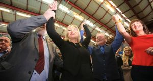 Sinn Féin's Michelle O'Neill celebrates after winning a seat in Mid-Ulster in the Northern Ireland Assembly elections, in Ballymena, Co Antrim. Photograph: Paul McErlane/AFP/Getty Images