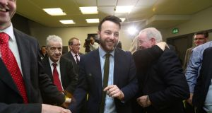 SDLP leader Colum Eastwood is re-elected at the Foyle Arena in Derry. Photograph: Niall Carson/PA Wire