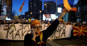 Protesters shout slogans during demonstrations against an agreement that would ensure the wider official use of the Albanian language, in Skopje, Macedonia, on Thursday. Photograph: Reuters