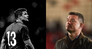 Brian O'Driscoll during the 2014 Six Nations (left), and on TV analysis duty (right). Photograph: Inpho (left) Getty images (right).