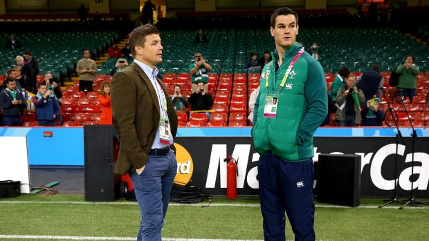 Brian O'Driscoll working as a pundit during the 2015 Rugby World Cup. Photograph: Inpho