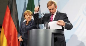 "Angela Merkel and Enda Kenny: ""Angela's Washington visit will be big news. It's gonna be tremendously huge."" Photograph: Laura Hutton/Photocall Ireland"
