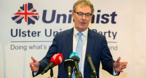 UUP's Mike Nesbitt announces his resignation as party leader at the Park Avenue Hotel, Belfast. Photograph: Liam McBurney/PA Wire