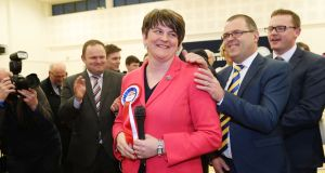 DUP leader Arlene Foster at the Omagh count centre for   Northern Ireland's Assembly election. Photograph: Niall Carson/PA Wire