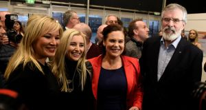 Sinn Féin NI leader Michelle O'Neill,  Orlaithi Flynn, deputy leader Mary Lou McDonald and president Gerry Adams  at  count centre in Belfast. Photograph: Clodagh Kilcoyne/Reuters