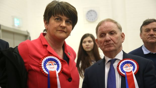 DUP party chairman Lord Morrow with DUP leader Arlene Foster at Omagh count centre. Photograph: Brian Lawless/PA