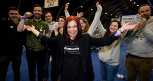 Green Party MLA Clare Bailey celebrates with supporters at the Titanic Exhibition Centre, Belfast. Photograph: Liam McBurney/PA