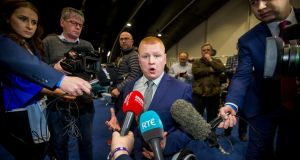 UUP MLA Andy Allen speaks with media at the Titanic Exhibition Centre, Belfast.