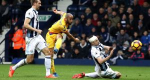 Andros Townsend of Crystal Palace scores his side's second goal during their Premier League win over West Brom. Photo: Christopher Lee/Getty Images