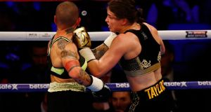 Katie Taylor in action against Monica Gentili during their out at the O2 Arena in London. Photo: Peter Cziborra/Reuters
