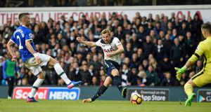 Tottenham Hotspur's Harry Kane scores his second goal against Everton at White Hart Lane. Photograph: EPA