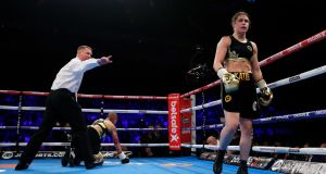 Katie Taylor after knocking down Monica Gentili in the fifth round of their six-round fight in London. Photograph: Reuters/Andrew Couldridge