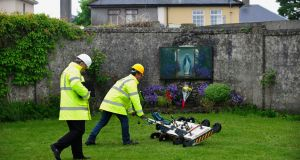 Image of engineers using ground penetrating radar at the site of a mass grave of up to 800 children at the former Mother and Baby home in Tuam, County Galway. Photograph: Aidan Crawley/EPA