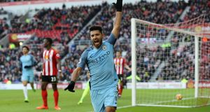 Manchester City's Sergio Aguero celebrates scoring his side's first goal of the game during their win over Sunderland at the Stadium of Light. Photo: Owen Humphreys/PA