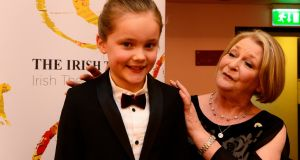 Barbara Brennan, Best Actress winner, with actor Amelie Metcalfe at the 'Irish Times' Irish Theatre Awards at the National Concert Hall. Photograph: Cyril Byrne/The Irish Times