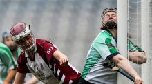 Sarsfields goalkeeper Yvonne Lyons collides with the upright during the All-Ireland camogie  senior club final at Croke Park. Photograph: Tommy Dickson/Inpho