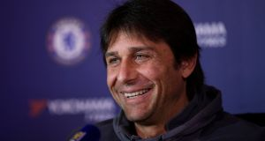 Chelsea manager Antonio Conte misses competing in the Champions League. Photograph: Reuters.
