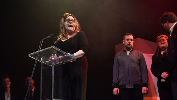 5/3/2017 The Irish Times Irish Theatre Awards in the NCH. Sarah Latty from CoisCeim the Audience choice award for These rooms a Anu and CoisCeim co-production . Pic. Bryan Meade 5/3/2017