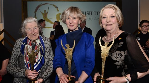 05/03/2017 Theatre Awards Winners in s at the Irish Times Irish Theatre awards at the National Concert Hall. Pat Daly (mother of Jane Daly Special Tribure, Siobhan Bourne The Irish Theatre Institute and , Barbara Brennan, Photograph: Cyril Byrne / THE IRISH TIMES