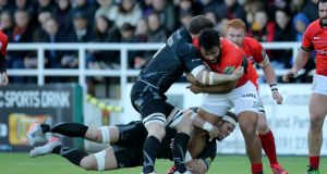 Saracens Billy Vunipola in action against Newcastle Falcons at Kingston Park on Sunday. Photograph: PA
