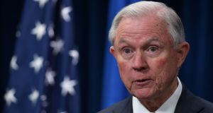 US attorney general Jeff Sessions speaks on visa travel at the US Customs and Border Protection Press Room in Washington, DC. Photograph: Mandel Ngan/AFP/Getty Images
