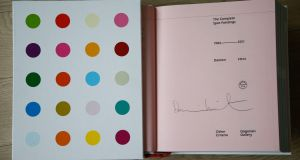 Shaun's signed copy of Damien Hirst's The Complete Spot painting's book. Photograph: Nick Bradshaw