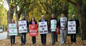 Teachers on strike at Dominican College, Griffith Avenue, Dublin  last year. Photograph Nick Bradshaw