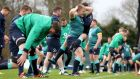 John Ryan and Paddy Jackson taking part in  Ireland's squad training session at Carton House yesterday. Photograph: Dan Sheridan/Inpho