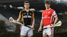Ballyea's Tony Kelly, left, and Cian O'Callaghan from Cuala ahead of their clash in the AIB GAA Senior Hurling Club Championship Final in Croke Park on St Patrick's Day. Photograph: Ramsey Cardy/Sportsfile