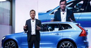 Vovlo chief executive Hakan Samuelsson at a presentation of the new Volvo XC60 car during the 87th International Motor Show at Palexpo in Geneva, Switzerland. Photograph: Denis Balibouse/Reuters