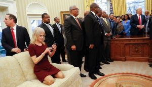 Kellyanne Conway in the Oval Office of the White House in Washington. Photograph: AP Photo/Pablo Martinez Monsivais