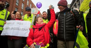 Vera Twomey with People Before Profit TD Gino Kenny at Leinster House, Dublin after they walked from Cork to Dublin. Photograph: Gareth Chaney/Collins