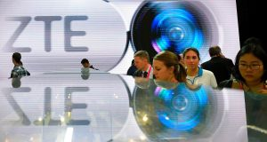 Fined: ZTE's stand at the Mobile World Congress in Barcelona.  Photograph: Lluis Gene/AFP/Getty