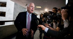 Republican senator from Arizona John McCain speaks to the media on March 7th about the WikiLeaks release of thousands of documents from the Central Intelligence Agency. Photograph: Jim Lo Scalzo
