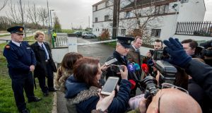 Inspector Ken McLoughlin speaks to media after a fire at Cluainin Cronan, Clondalkin where a woman and two children died.  Photograph: Brenda Fitzsimons / The Irish Times