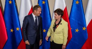 Donald Tusk with Polish prime minister Beata Szydlo  in Warsaw in 2016. Ms Szydlo is seeking to block her predecessor  from securing a second term as European Council president. Photograph: Wojtek Radwanski/AFP/Getty Images