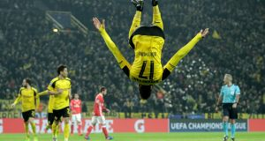 Dortmund's Pierre-Emerick Aubameyang celebrates scoring their fourth goal in their Champions League last 16 second leg win over Benfica. Photo: Friedemann Vogel/Getty Images