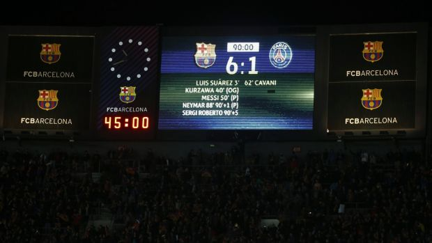 The barely believable scoreboard at full time. Photo: Sergio Lopez/Reuters