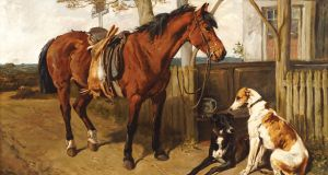 Horse and Greyhounds by the English artist John Emms went for €17,500 (€12,000-€18,000) at Durrow auction