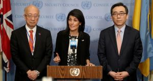 Japan's ambassador to the United Nations Koro Bessho, US ambassador  Nikki Haley and South Korea's ambassador  Oh Joon  speak about the threat to world security posed by North Korea at the UN headquarters in New York on Wednesday. Photograph: Andrew Gombert/EPA