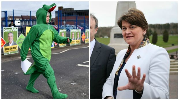 DUP leader Arlene Foster (right) and a Sinn Féin supporter dressed as a crocodile. Ms Foster has said she regrets using the term crocodiles to describe Sinn Féin. Photographs: Paul Faith/AFP/Getty and Niall Carson/PA Wire.