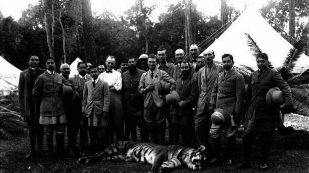 The Prince of Wales in 1921 with his first dead tiger. On his right is Gen Sir Bauber Shum Shere Jung, son of the Maharajah. Photograph: PA