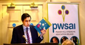 Simon Harris, Minister for Health, at the launch of first national survey on the needs of prople with Prader-Willi syndrome (PWS) at Buswells Hotel, Dublin. Photograph: Cyril Byrne / THE IRISH TIMES