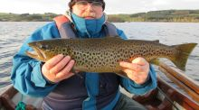 Derek Maguire (Ashbourne) with a fine trout from Cornamona area on Corrib
