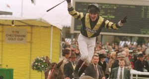 Norman Williamson dismounts after winning the 1995 Gold Cup on Master Oats. Photograph: Healy Racing