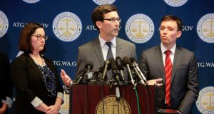 "Washington state attorney general Bob Ferguson said the new immigration order harms a ""smaller group"" of individuals, but that would not affect the state's ability to challenge it in court. Photograph: Jason Redmond/AFP/Getty Images"