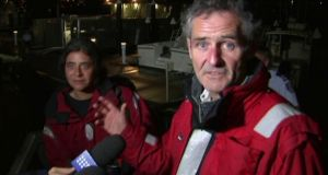 Nick Dwyer and Barbara Heftman are interviewed in Sydney after being rescued off Australia's southeastern coast. Photograph: Australian Broadcasting Corporation via AP