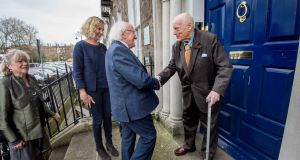 Film-maker George Morrison was honoured by President Michael D Higgins when he was bestowed the honour of Saoi of Aosdána during a reception at the Arts Council of Ireland. Photograph: Brenda Fitzsimons